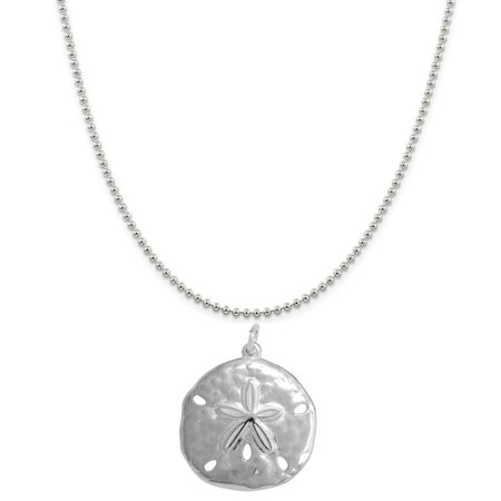 Sterling Silver Sand Dollar Charm on a Sterling Silver 16 Ball Chain Necklace (10 Dollar Necklaces)