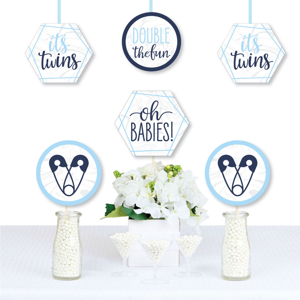 Big Dot of Happiness It/'s Twin Boys/ Blue Twins Baby Shower Decorations Party Banner