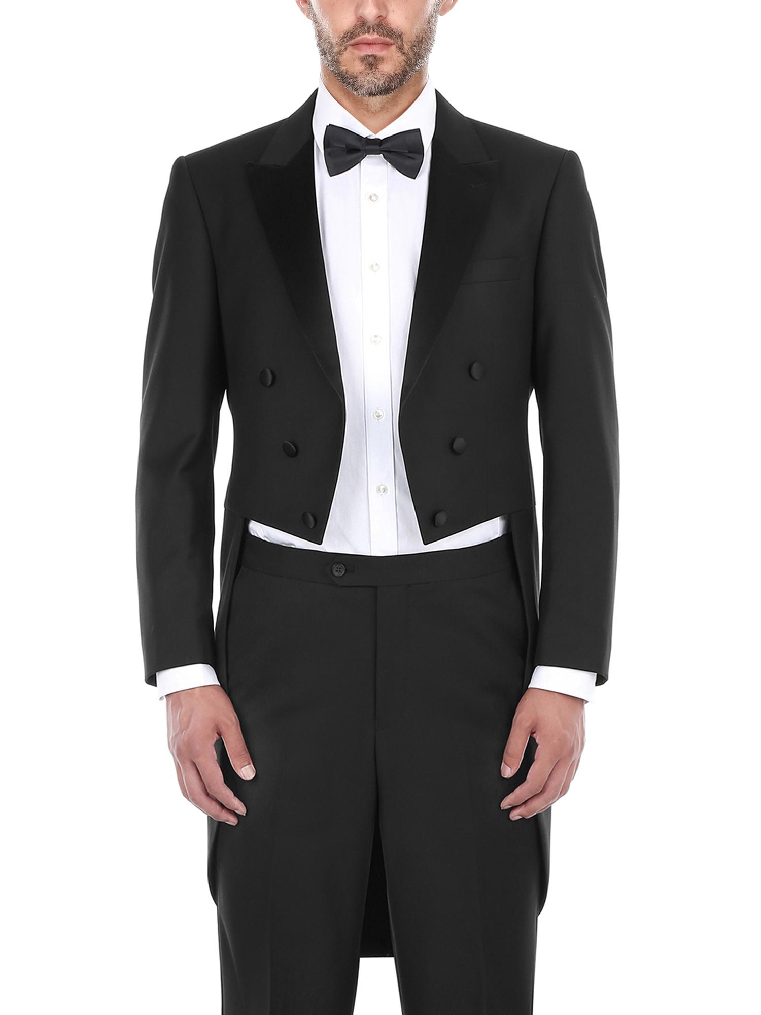 Big Men's Black Classic Fit Peak Lapel Full Dress Two Piece Tuxedo With Tails