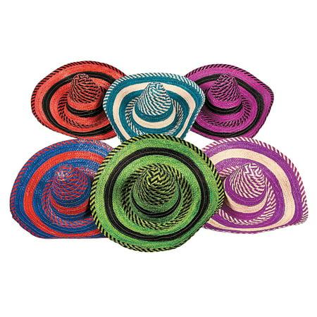 Fun Express - Adult Bright Stripe Sombrero Asst for Cinco de Mayo - Apparel Accessories - Hats - Straw Hats - Cinco de Mayo - 12 Pieces