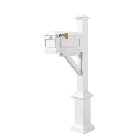 QualArc WPD-SB1-S7-LMC-WHT Westhaven System with Lewiston Mailbox, Square Base & Pyramid Finial, White