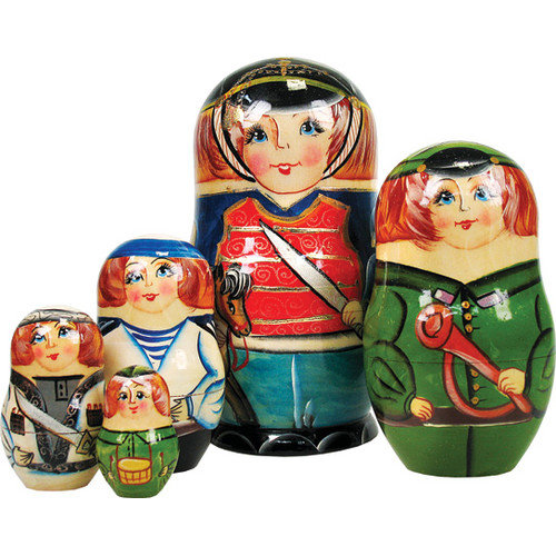 G Debrekht Russian 5 Piece Nutcracker Prince Nested Doll Set