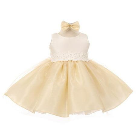 Good Girl Baby Girls Champagne Off-White Tulle Adorned Flower Girl Dress 6-24M
