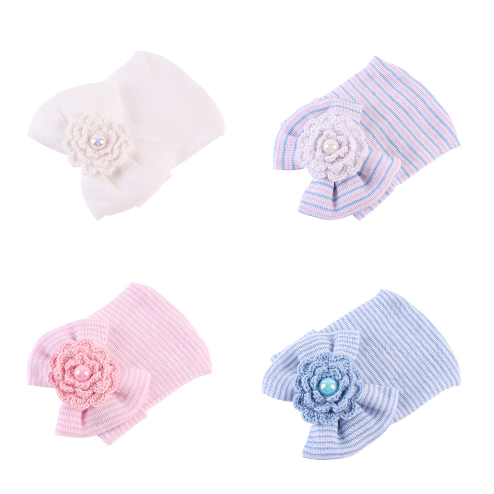 Bow Newborn Baby Girl Hospital Hat Infant Bow Hat Soft Cute Knotted Hats 5-pack Black+White+Red+Yellow+Pink
