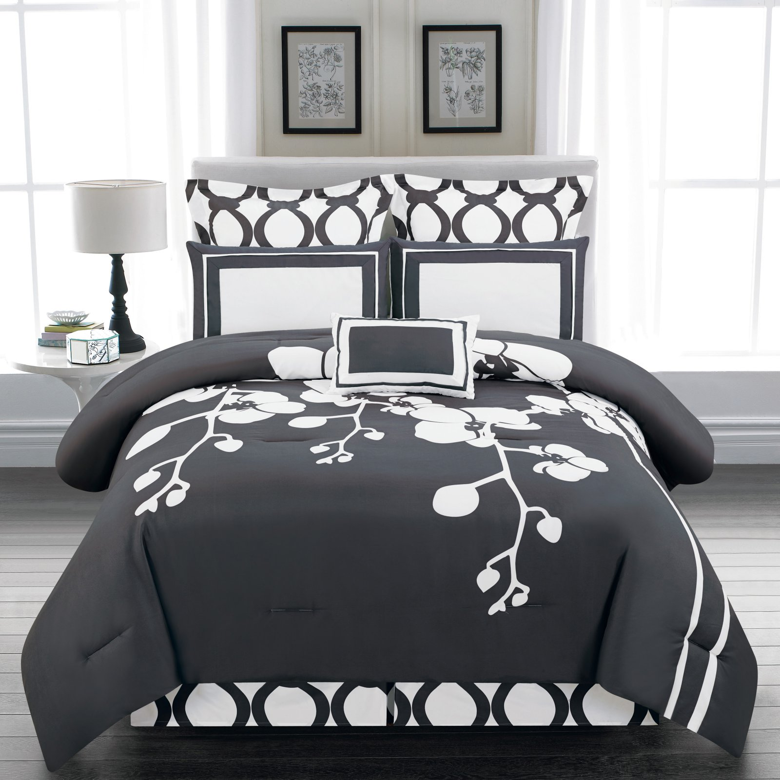 April Orchidea Flower 6 Piece Reversible Oversize/Overfilled Comforter Set by Duck River Textiles
