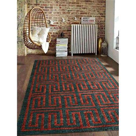 Rugsotic Carpets USJ00032SY1328A9 5 x 8 pi. Tapis contemporain contemporain nou- de jute Sumak - la main - Rouille vert fonc- - image 1 de 1