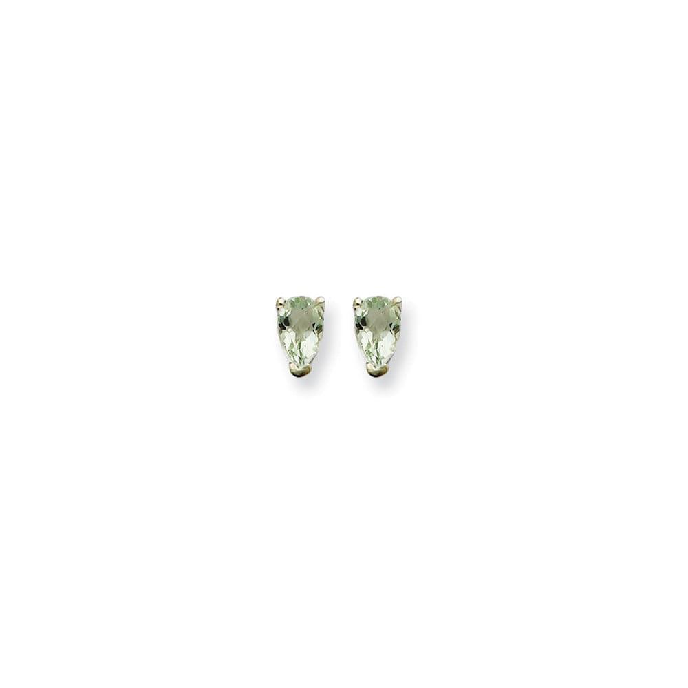 14k White Gold 5x3 Pear Green Amethyst Earrings. Gem Wt- 0.44ct (6MM Long x 3MM Wide)