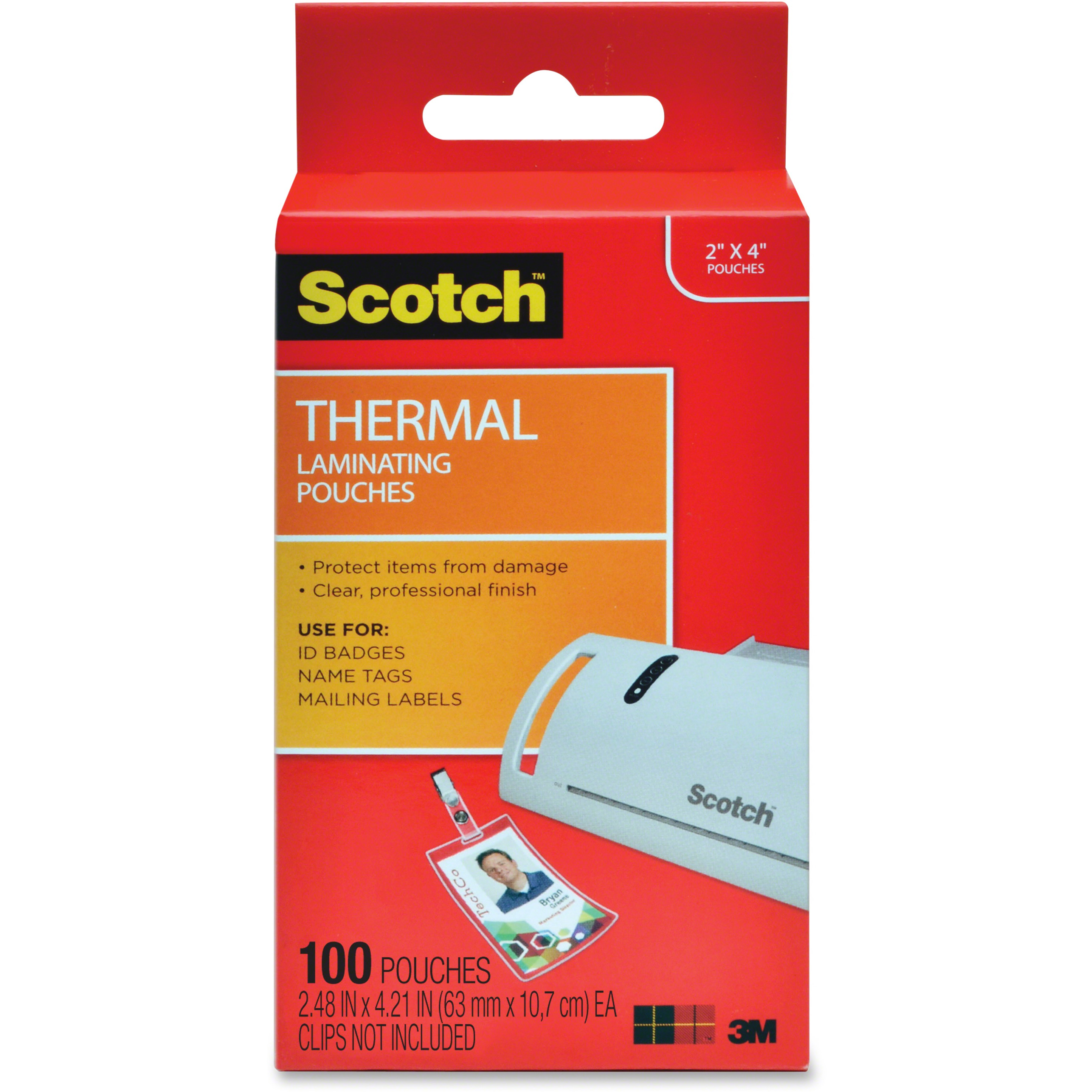 Scotch, MMMTP5852100, Thermal Laminating Pouches, 100 / Pack, Clear