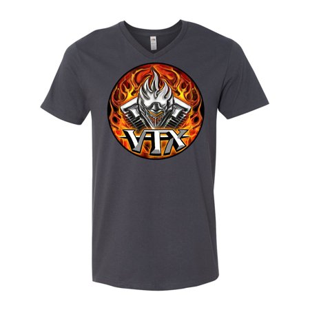 - VTX Flaming Motor Men's V-Neck T-Shirt WickedApparel by Michael Spano