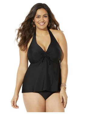 Swimsuits For All Women's Plus Size Flyaway Halter Tankini Set