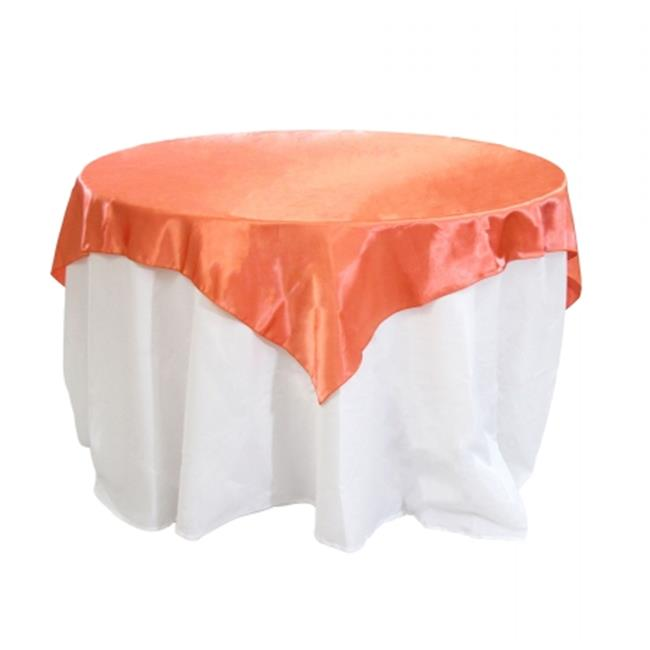 Beau Koyal Wholesale 404087 Satin Table Overlay   Coral   90 X 90 In.