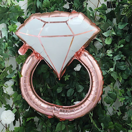 BalsaCircle 25-Inch long Rose Gold White Extra Large Diamond Ring Mylar Foil Balloon - Wedding Party Reception Decorations Supplies