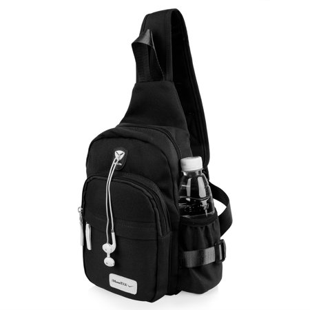 Nylon Crossbody Shoulder Chest Sling Bag Daily Travel Backpack (Black)