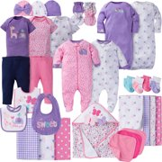 Gerber Newborn Baby Girl Perfect Baby Shower Gift Layette Set, 34-Piece