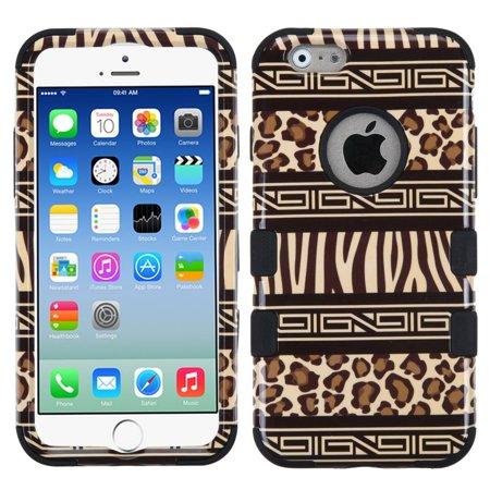 Dynamic Hybrid Tuff Gel Hard Case for Apple iPhone 6/6S - Black/Zebra Leopard (Black Leopard Hard Case)