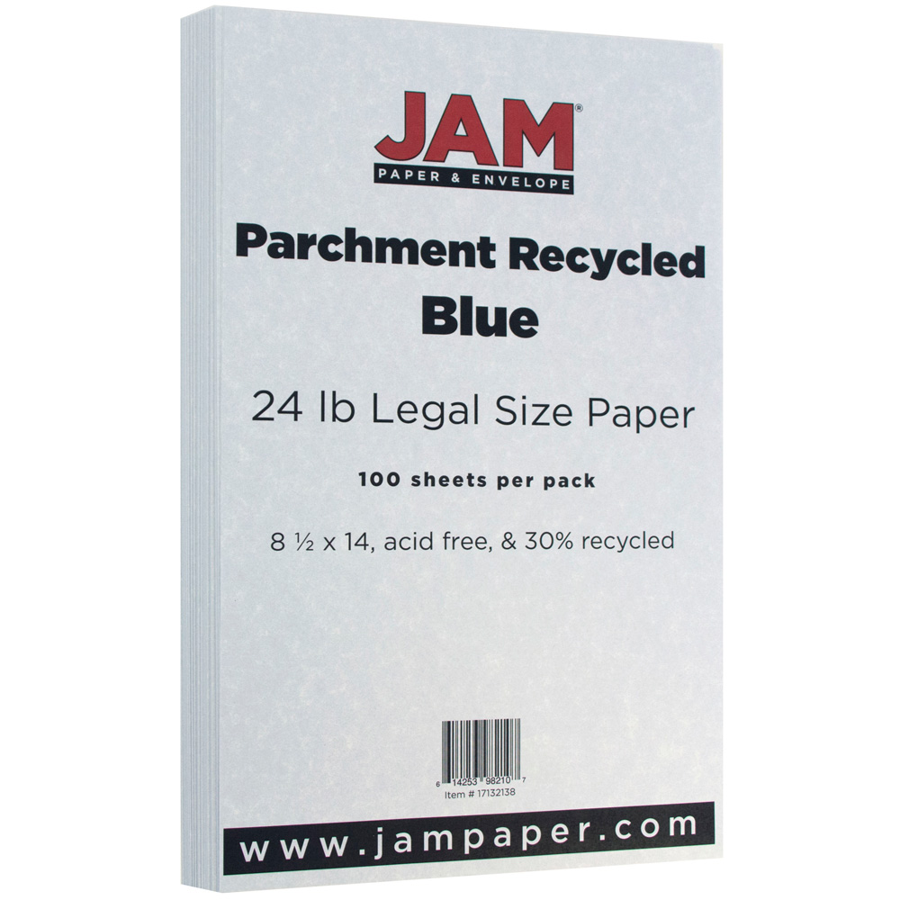 JAM Paper Parchment Legal Size Paper, 8.5 x 14, 24 lb Blue Recycled, 100 Sheets/pack