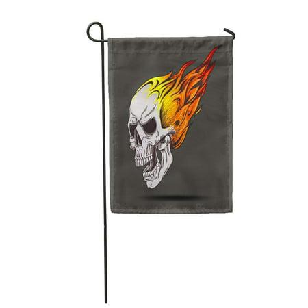 SIDONKU Orange Vintage Skull on Fire Grunge Red Rock Skeleton Devil Ghost Halloween Tatt Garden Flag Decorative Flag House Banner 12x18 inch