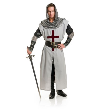 Adult's Mens Chivalrous Knight Sequin Hooded Tunic With Belt And Arm Guards