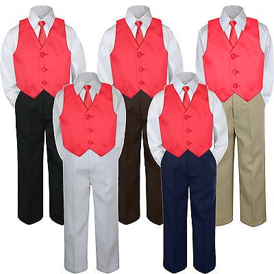 Baby Christmas Suit (4pc Boy Suit Set Red Christmas Necktie Vest Baby Toddler Kid Formal Pants)