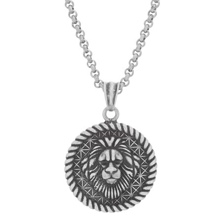 Mens 26 Rope Design Lion Pendant Necklace in Oxidized Stainless Steel (Steel By Design Jewelry)