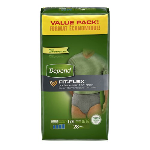 Depend FIT-FLEX Maximum Absorbency Underwear for Men, L/XL, 28 count