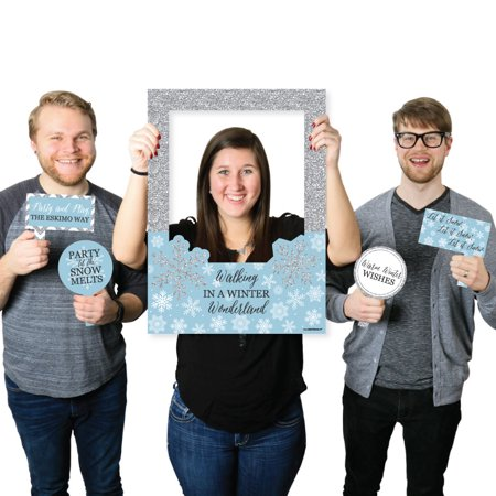 Winter Wonderland - Holiday Party & Winter Wedding Selfie Photo Booth Picture Frame & Props -Printed on Sturdy Material