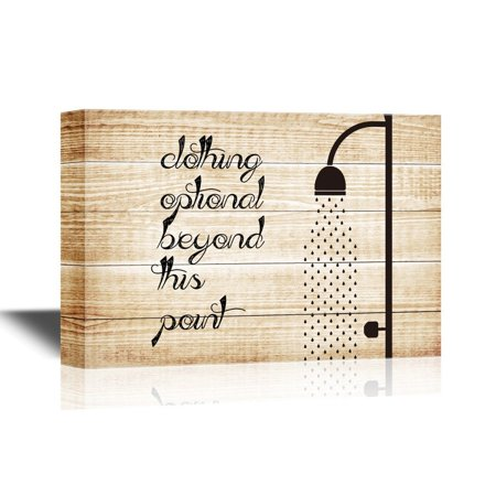 wall26 Bathroom Canvas Wall Art - Clothing Optional Beyond This Point - Gallery Wrap Modern Home Decor | Ready to Hang - 24x36 inches (Clothing Optional Galleries)