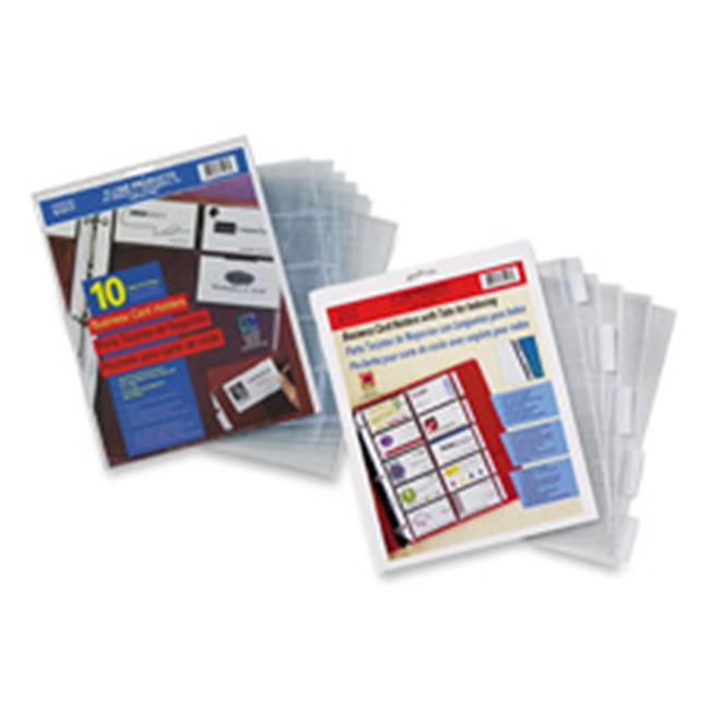 C-Line Products- Inc.  CLI61117 Business Card Refill Pages- w-Tabs- 100 Card Cap- 11inchx8-. 50inch- CL