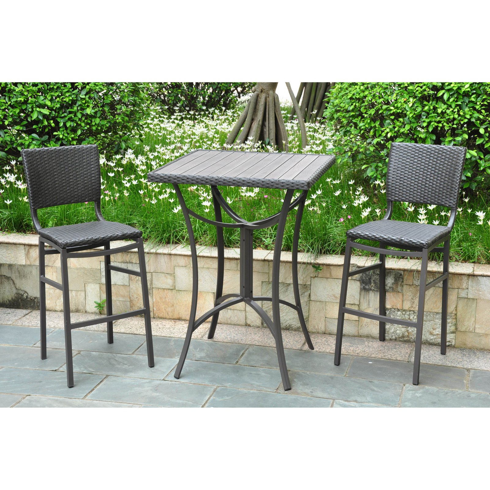 International Caravan Barcelona Resin Wicker Bar Height Bistro Set by International Caravan