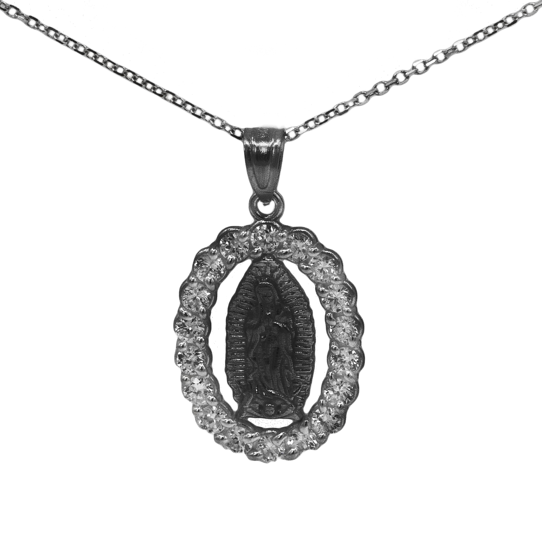 """14k Black Rhodium Gold Cubic Zirconia Our Lady of Guadalupe Religious Pendant Necklace with 18"""" Chain"""