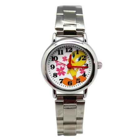 Tweety Bird Stainless Steel Band Flower Dial Ladies Watch (25mm) - Ladies Game Day Steel Watch