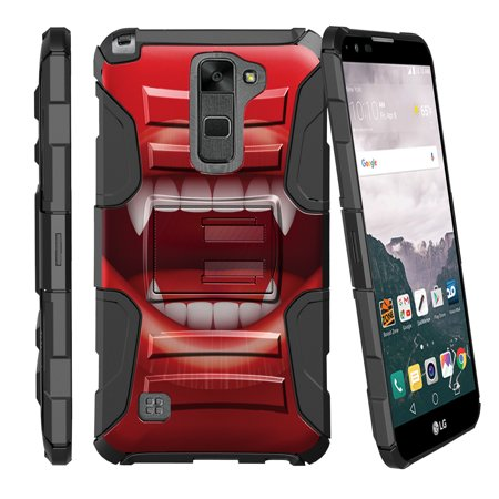 LG Stylus 2 LS775, LG G Stylo 2 Miniturtle® Clip Armor Dual Layer Case Rugged Exterior with Built in Kickstand + Holster - Vampire Teeth](Demon Teeth)