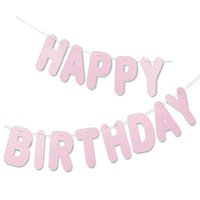 Happy Birthday Letter Banner - Light Pink, Hanging Party Decoration Backdrop - Large Pre-Strung Glittery Birthday Sign Garland - Great for Girls Birthday Parties, Princess Themed Parties - 10.5 Feet