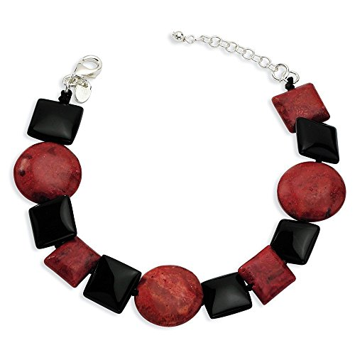 .925 Sterling Silver Black Agate & Reconstituted Red Coral Bracelet 7.50 Inches by SSQGold-Bracelet