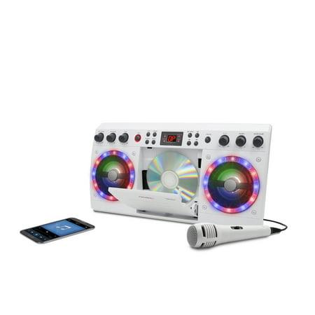 iKaraoke KS303B-BT Bluetooth CD&G Karaoke System with Multi Color Lighting Effect, White