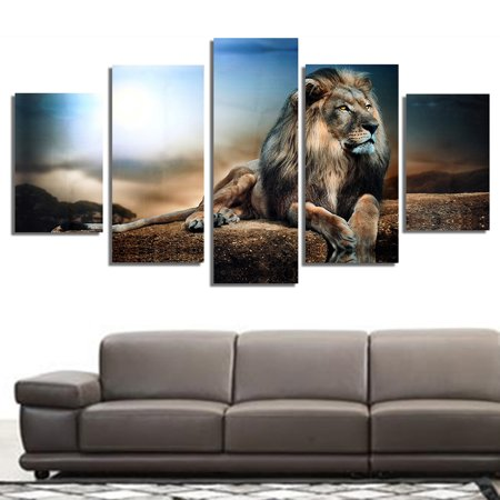 (5Pcs/set Modern Abstract Sitting Lion Canvas Oil Painting Picture Prints Home Wall Art Decoration Present Gift)