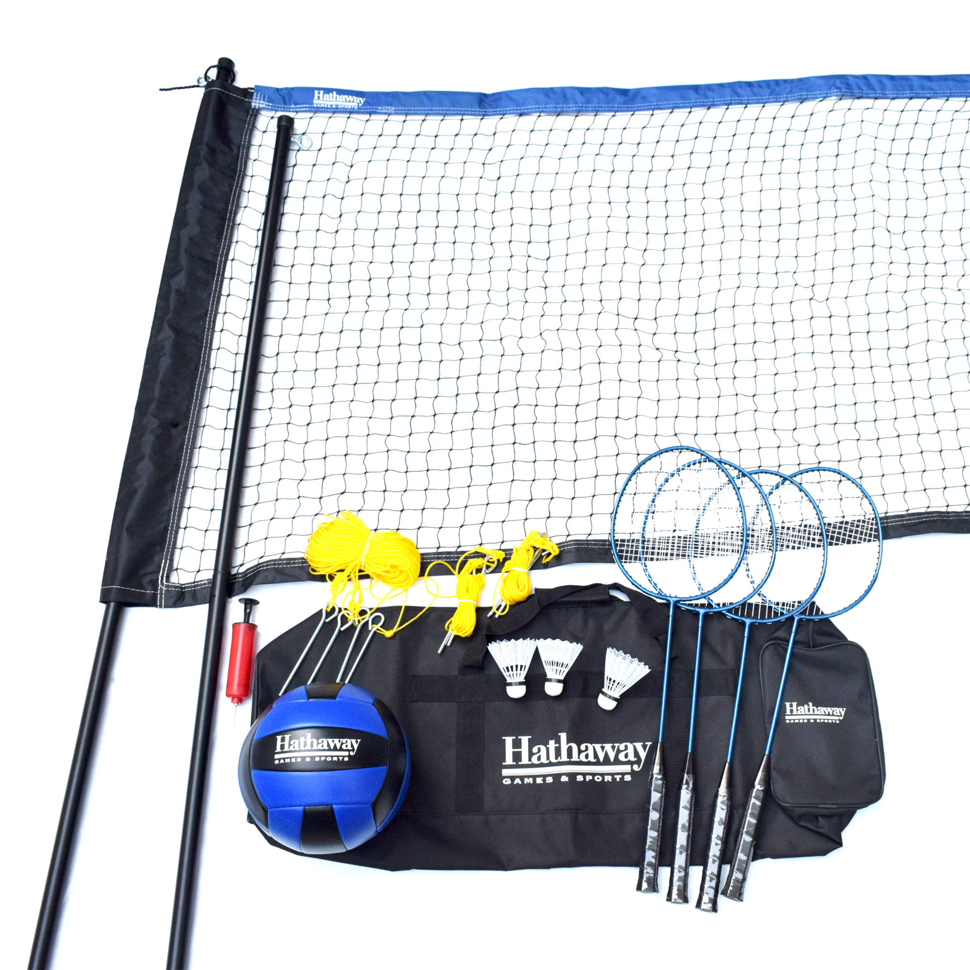 Hathaway Volleyball/Badminton Set w/Net & poles, Stakes, Guides, Volleyball, Rackets, Shuttlecocks, & Nylon Carry Bag - Multicolored