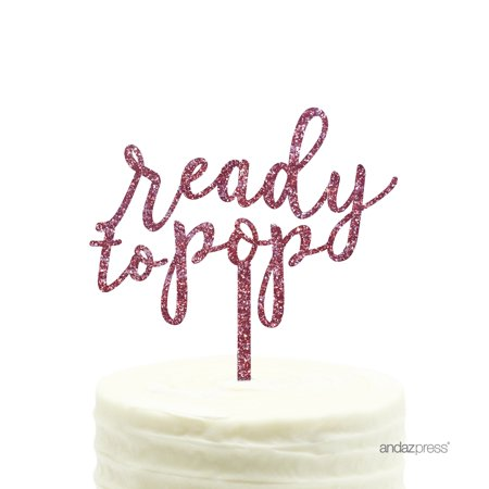 Ready to Pop Pink Glitter Baby Shower Acrylic Cake Topper - Cake Pop Former
