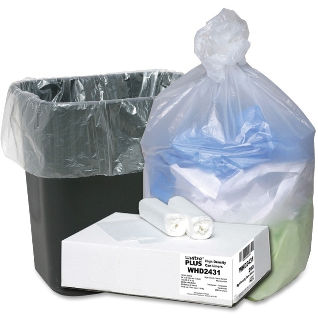 "Webster Ultra Plus High Density Trash Can Liner - Small Size - 16 gal - 24"" Width x 31"" Length x 0.31 mil (8 Micron) Thi"