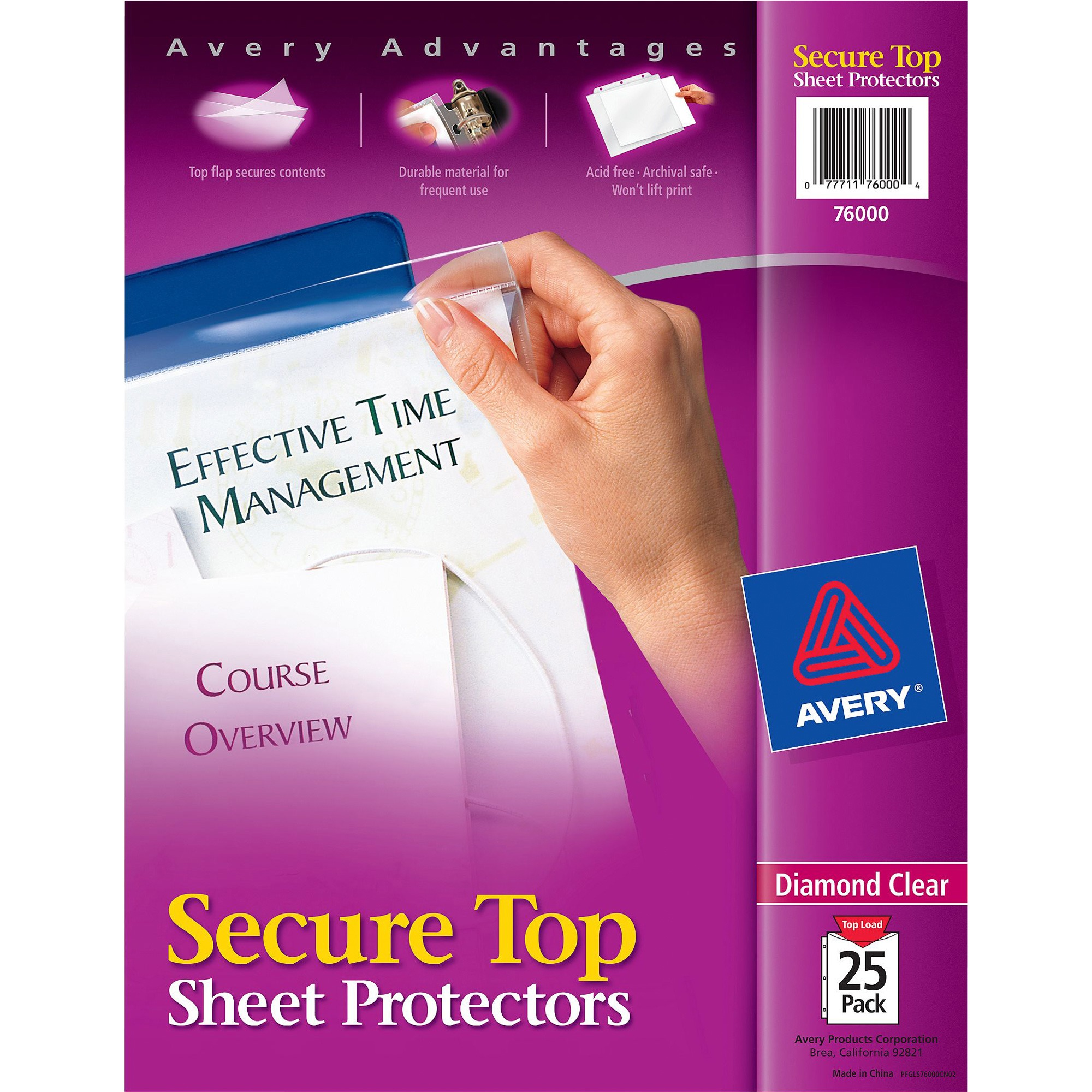 Avery(R) Diamond Clear Secure Top⢠Sheet Protectors, 25 Protectors (76000)