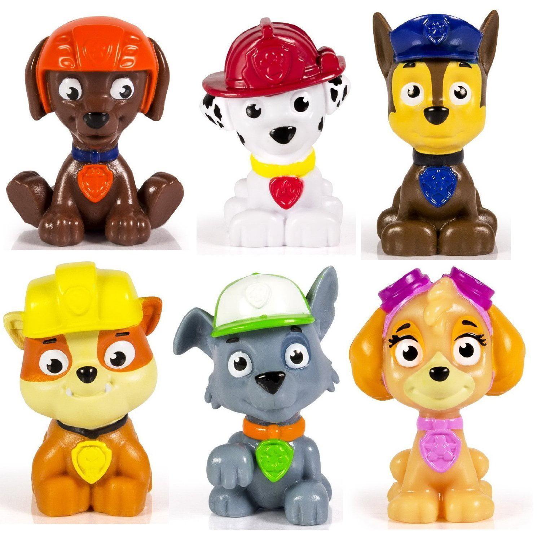 Kids Paw Patrol Mini Figures Set of 6 - Rocky, Zuma, Skye, Rubble, Marshall  & Chase