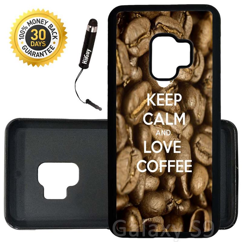 Custom Galaxy S9 Case (Keep Calm Love Coffee) Edge-to-Edge Rubber Black Cover Ultra Slim | Lightweight | Includes Stylus Pen by Innosub
