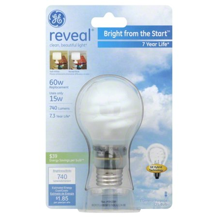 GE Reveal® Bright From The Start CFL 15 Watt A19 1-Pack Ge Reveal Cfl