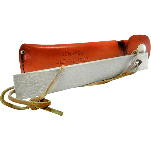 Schrade Old Timer Honesteel Sharpening Stone with Leather Lanyard and Sheath