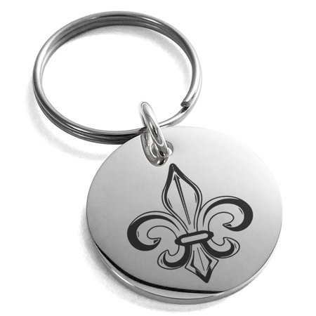 Stainless Steel Valorous Fleur De Lis Engraved Small Medallion Circle Charm Keychain Keyring