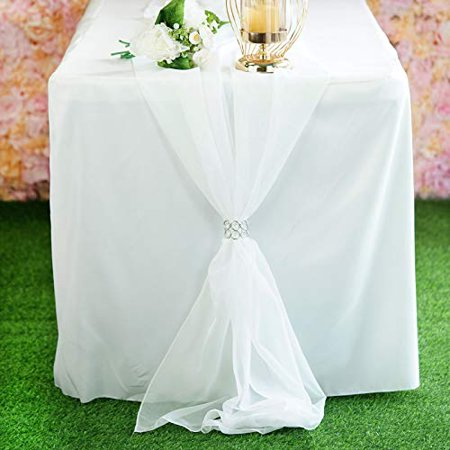 "AK TRADING CO. 27"" x 120"" Wide Chiffon Elegant Table Runner/Overlay Ideally Perfect for Center Table, Wedding Decor, Bridal Shower & Other Special Occasion. (10, Ivory)"