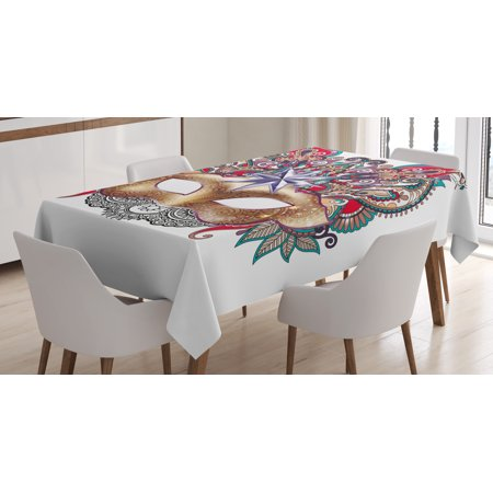 Mardi Gras Tablecloth, Venetian Carnival Mask Silhouette with Ornamental Elements Masquerade Costume, Rectangular Table Cover for Dining Room Kitchen, 60 X 84 Inches, Multicolor, by Ambesonne - Mardi Gras Tablecloth
