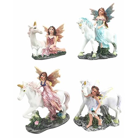 Beautiful Fairy Damsel With Legendary Rare Unicorn Miniature Figurine Collectible Set