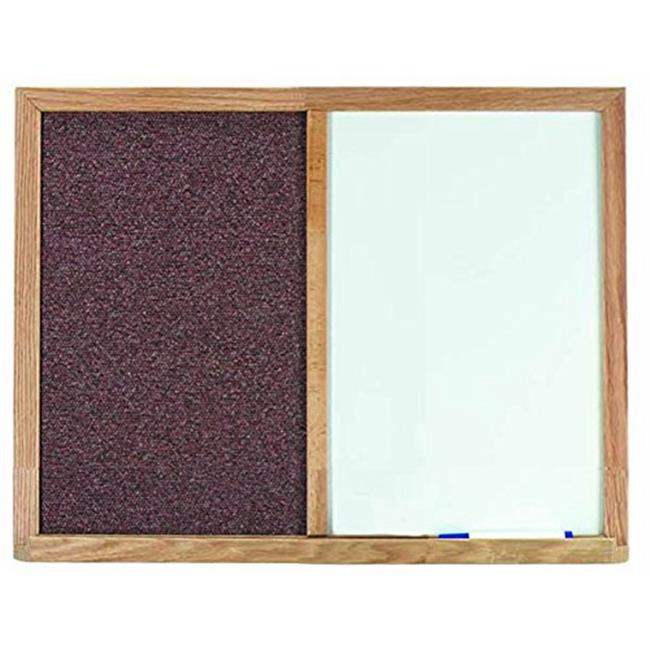 Aarco Products FCO1824M Oak Frame Combination Mauve Fabric Tack Board - 18 H x 24 W in.