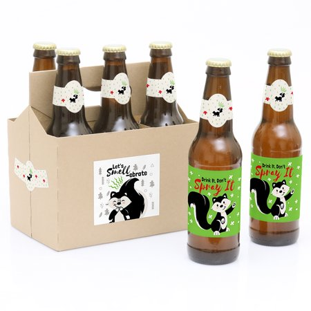 - Little Stinker - Woodland Skunk Baby Shower or Birthday Party Decorations for Women and Men - 6 Beer Bottle Label